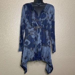 Alberto Makali Blue Ombre Embellished Tunic Shirt